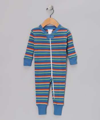 Blue Stripe Organic Playsuit - Infant