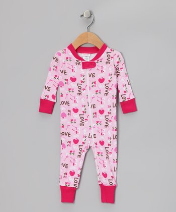 Pink 'Love' Organic Playsuit - Infant