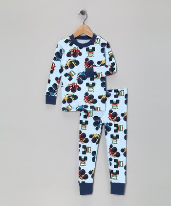 Light Blue Monster Truck Organic Pajama Set - Toddler & Boys