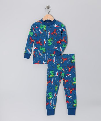 Dark Blue Dragon Organic Pajama Set - Toddler & Boys