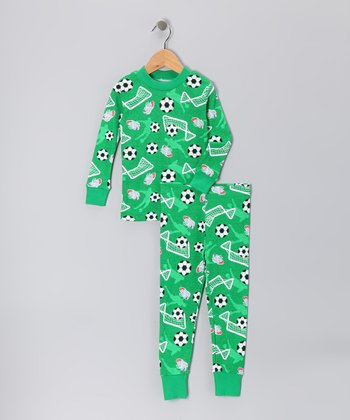 Green Soccer Organic Pajama Set - Toddler & Boys