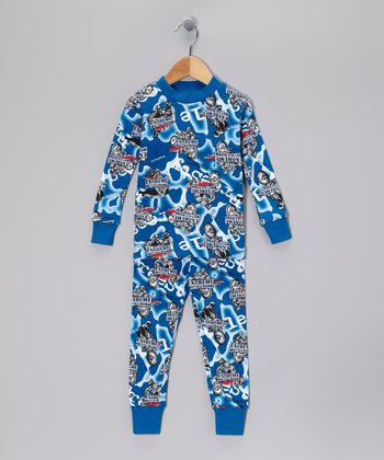 Blue 'Extreme Moto' Organic Pajama Set - Toddler & Boys