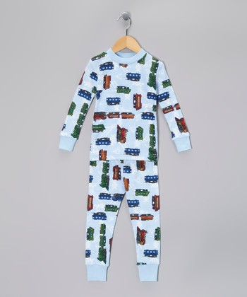 Light Blue Train Organic Pajama Set - Toddler & Boys