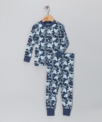 Blue Camo Organic Pajama Set - Toddler & Boys
