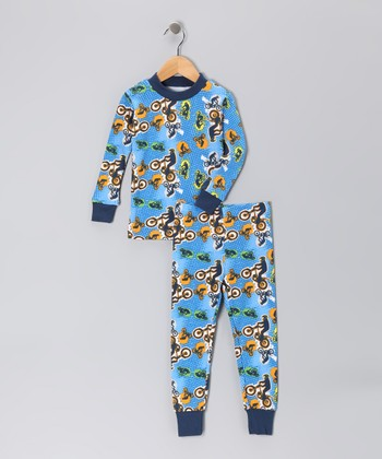 Blue Racing Organic Pajama Set - Toddler & Boys