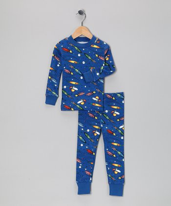 Dark Blue Rocket Organic Pajama Set - Toddler & Boys