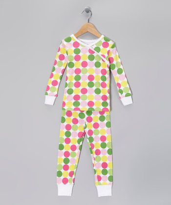 Pastel Polka Dot Organic Pajama Set - Toddler & Girls