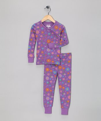 Purple Country Flower Organic Pajama Set - Toddler & Girls