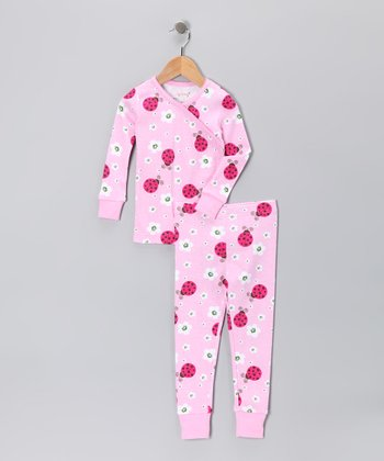 Pink Ladybug Flower Organic Pajama Set - Toddler & Girls