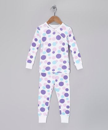 Lavender Polka Dot Organic Pajama Set - Toddler & Girls