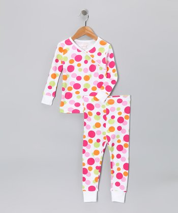 Magenta Polka Dot Organic Pajama Set - Toddler & Girls