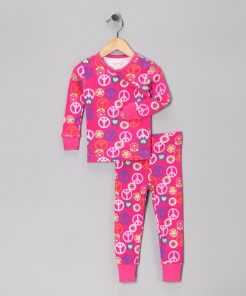 Pink Peace Sign Organic Pajama Set - Toddler & Girls