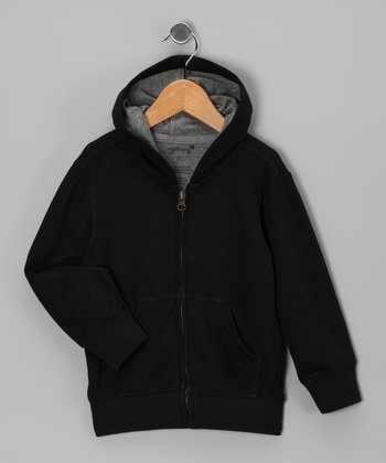 Black Zip-Up Hoodie - Toddler & Kids