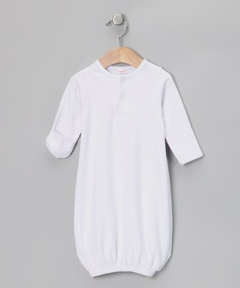 White & Pink Pin Dot Henley Gown - Infant