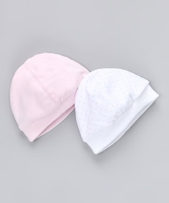 Pink & White Pin Dot Beanie Set