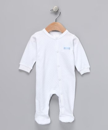 White & Blue Pin Dot Footie - Infant