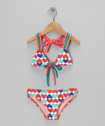 White & Pink Heart Bikini - Toddler & Girls
