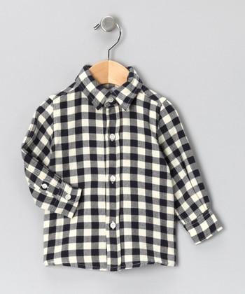 Navy Plaid Flannel Button-Up - Infant