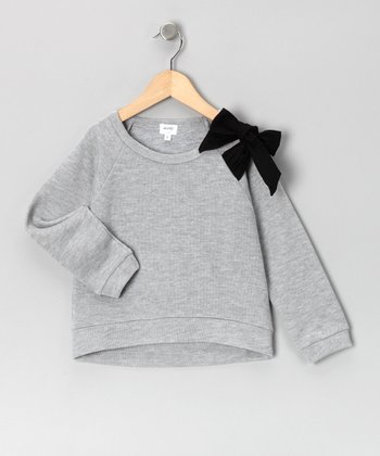 Gray Bow Sweatshirt - Toddler & Girls