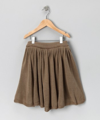 Beige Gathered Wool-Blend Skirt - Toddler & Girls