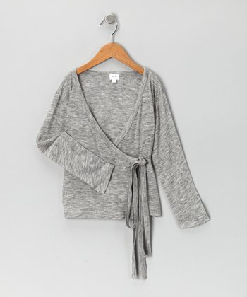 Gray Wrap Cardigan - Toddler & Girls