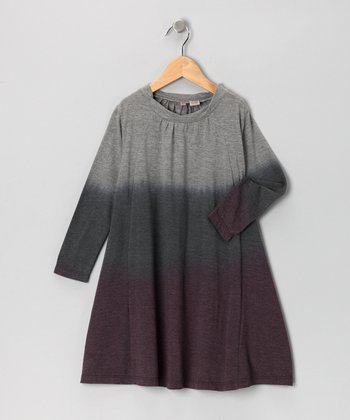 Gray & Purple Tie-Dye Swing Dress - Girls