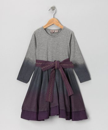 Gray & Purple Tie-Dye Dress - Toddler & Girls