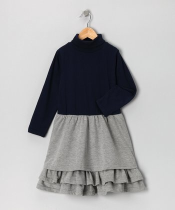 Navy & Gray Turtleneck Dress - Girls