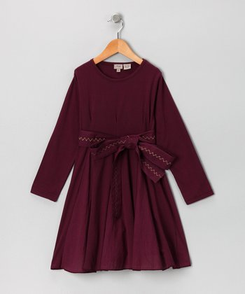 Burgundy Belt Dress - Toddler & Girls