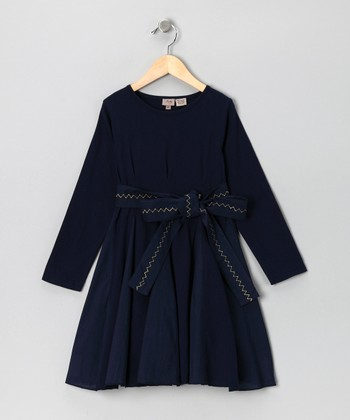 Navy Belt Dress - Toddler & Girls