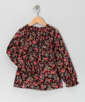 Brown & Pink Floral Top - Toddler & Girls