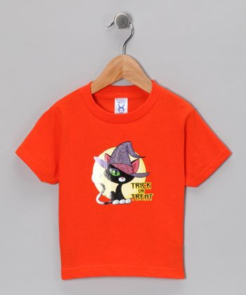 Orange 'Trick or Treat' Cat Tee - Toddler & Kids