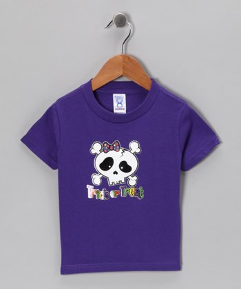 Purple 'Trick or Treat' Bow Skull Tee - Toddler & Kids