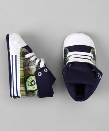 Akademiks Navy Plaid Roll-Down Sneaker