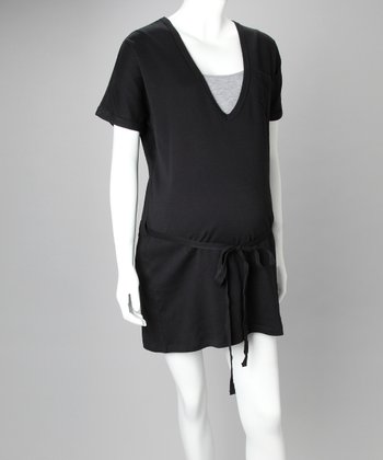 Black Organic V-Neck Maternity Dress