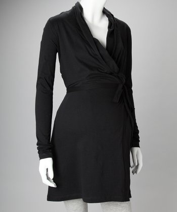 Black Organic Maternity Wrap Dress