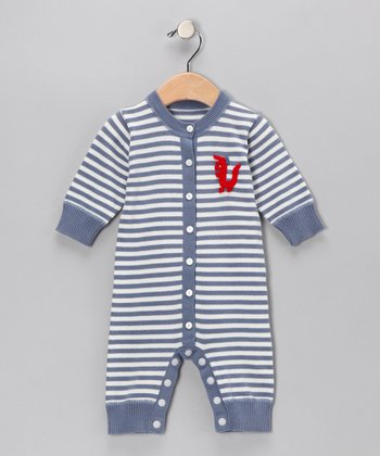 Blue Stripe Crochet Dragon Playsuit - Infant