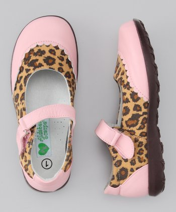 Light Pink Cheetah Big Monica Leather Mary Jane