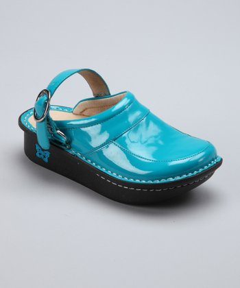 Teal Patent Louise Clog - Kids