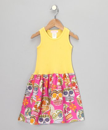 Yellow & Fuchsia Fiesta Calaveras Dress - Infant