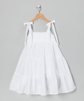 White Embroidered Twirl Dress - Infant, Toddler & Girls