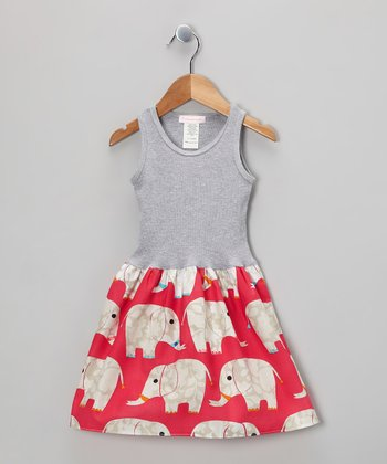 Gray & Pink Elephant Parade Dress - Infant, Toddler & Girls