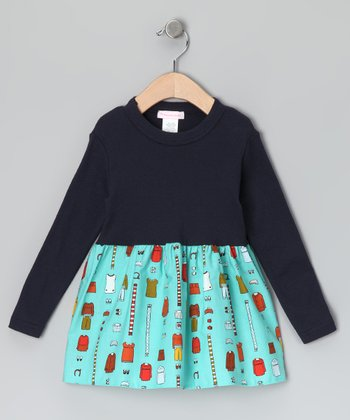 Navy & Aqua Vintage Clothing Dress - Infant, Toddler & Girls