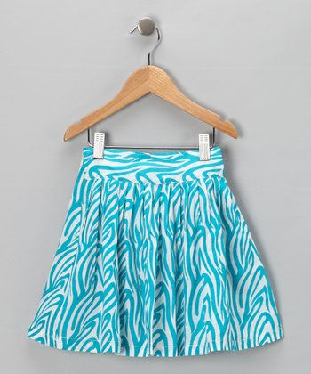 Turquoise Zebra Skirt - Infant & Toddler