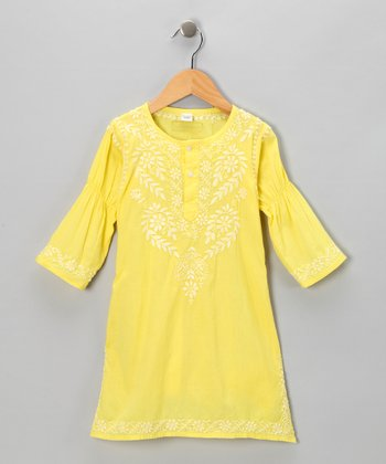 Mellow Yellow Embroidered Dress - Infant, Toddler & Girls