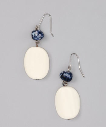 Blue & Ivory Double-Drop Earrings