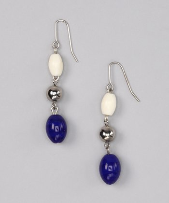 Blue & Ivory Triple-Drop Earrings