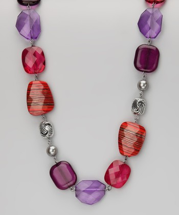 Jewelry Red Stripe Gem Necklace
