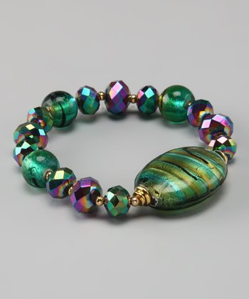 Emerald Murano Glass Stretch Bracelet