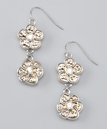 Silver & Gold Double Flower Drop Earrings